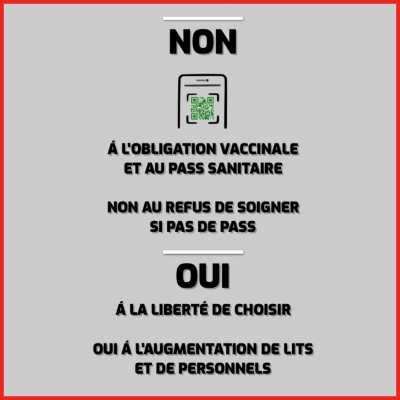 Vendredi 20 - NON à l'obligation vaccinale et au pass sanitaire / OUI à la liberté de choisir