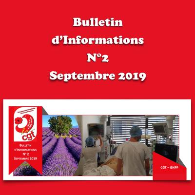 Bulletin d'Informations N°2 - Septembre 2019