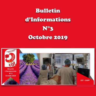 Bulletin d'Informations N°3 - Octobre 2019
